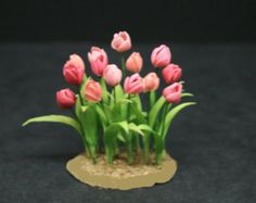 Check out OOAK Pink Tulips ~12th Scale~Cold Porcelain Flowers~ Dolls House Miniature~Fairy Garden~Handmade Miniature on miniaturesandcraft