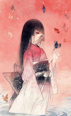 watercolor illustration 阎魔爱-零届0rz__涂鸦王国插画