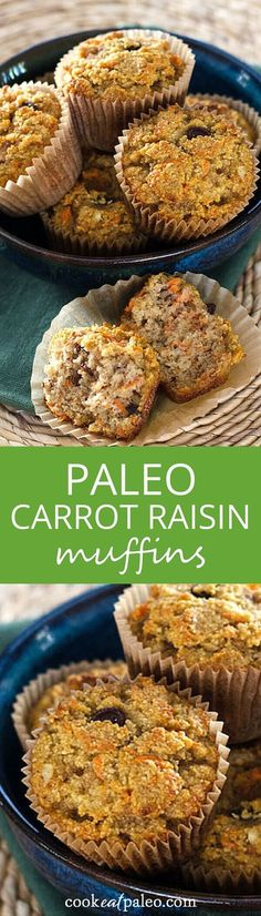 An easy paleo carrot raisin muffin recipe with cinnamon and walnuts - gluten-free, grain-free, dairy-free and refined sugar-free. Bake ahead and freeze! ~ http://cookeatpaleo.com