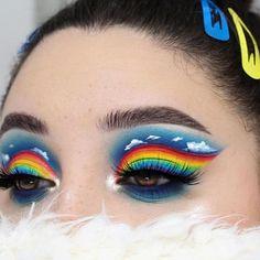 make up artistique fantasy makeup face art Makeup Eye Looks, Eye Makeup Art, Colorful Eye Makeup, Crazy Makeup, Blue Eye Makeup, Cute Makeup, Pretty Makeup, Eyeshadow Makeup, Crazy Eyeshadow