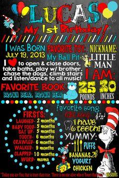 25 5X7 Dr Seuss 1st Birthday Chalkboard by MyThreeCharms on Etsy