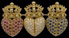 KIESELSTEIN-Cord Ruby,Diamond and Sapphire Brooch....crowns...hearts...