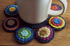 Mug MaT HandMade Penny Rug  WooL FeLT PriMiTiVe Needlecraft doily trivet Coffee Tea MuG Coaster