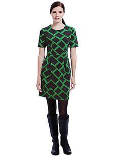 Brick Print Scuba Shift Dress   M&S