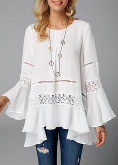 Women's White Blouse For Women Flare Sleeve Crochet Panel Asymmetric Hem Blouse Stylish Tops For Girls, Trendy Tops For Women, Blouses For Women, Women's Blouses, Fashion Blouses, White Blouses, Mode Outfits, Fashion Outfits, Trendy Fashion