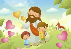 Stock Photo - Jesus Christ walking with two children