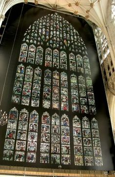 Printed banner replicates medieval stained-glass window. Photo: York Minster