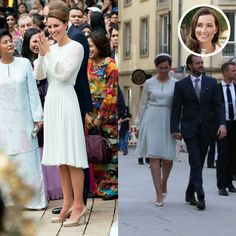 Princess Claire of Luxembourg and the Duchess exuded femininity wearing the same pale grey dress by Beulah London nearly five years apart. Kate wore the bespoke piece in Malaysia during her 2012 Diamond Jubilee Tour of the Far East, while Claire wore the sophisticated frock in May 2017 for the Octave closing ceremony.