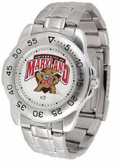 Maryland Terrapins Suntime Mens Sports Watch w/ Steel Band - NCAA College Athletics by SunTime. $49.95. The Sport Steel watch by Suntime features your favorite team logo in a European styled stainless steel case with a stainless steel strap and security buckle.