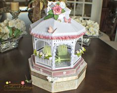 "Joann created her very own ""Dream Gazebo"" going from Winter to Summer simply by changing out the colors and elements in her design and having a vision of what she wanted to make! It is beautiful! This lovely file is in the WINTER GAZEBO SVG KIT. Using embossing folders adds great texture! Great gift and it's a box, too!"