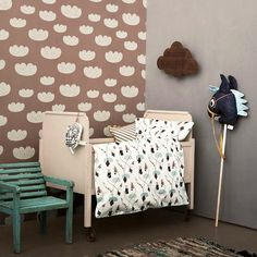 The wallpaper Cloud Wallpaper - 521 from Ferm Living is wallpaper with the dimensions m x m. The wallpaper Cloud Wallpaper - 521 belongs to the popula Ferm Living Wallpaper, Cloud Wallpaper, Kids Wallpaper, Rose Wallpaper, Ferm Living Kids, Kids Bedroom, Bedroom Decor, Kids Decor, Home Decor