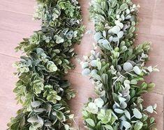 Eucalyptus & Boxwood Garland Wedding Centerpiece Table Runner   Etsy Wedding Table Centerpieces, Wedding Table Numbers, Flower Centerpieces, Wedding Decorations, Decor Wedding, Rustic Wedding, Boxwood Garland, Greenery Garland, Garlands