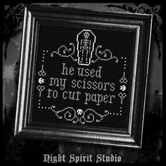 He Used My Scissors To Cut Paper - Cross Stitch Pattern PDF - Includes Other Pronouns - Embroidery, Sewing Beaded Cross Stitch, Cross Stitch Kits, Cross Stitch Embroidery, Embroidery Patterns, Cross Stitch Patterns, Gothic, Halloween Cross Stitches, Embroidery Scissors, Needle Book