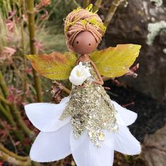 Shes just arrived and will be one of our last miniature tree toppers for this holiday season. Cute Crafts, Decor Crafts, Crafts To Sell, Janmashtami Decoration, Felt Fairy, Miniature Trees, Christmas Fairy, Fairy Garden Accessories, Tiny Dolls