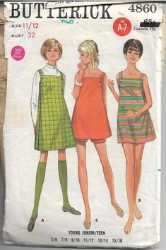 Vtg 1968 Mini Skirt Jumper and Shorts Sewing Pattern Bust Sz 11 12 Cute Vintage Outfits, Robes Vintage, Vintage Dresses, Vintage Fashion, 1970 Dresses, Vintage Shorts, Retro Fashion, Vintage Dress Patterns, Dress Sewing Patterns