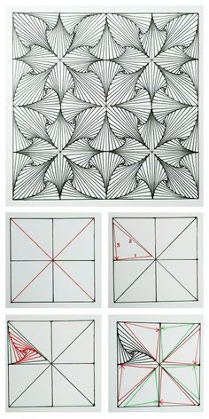 Paradox tangle / zentangle pattern - how to. - 4 steps to get started - - Zentangle - Handdraw Doodle Art Drawing, Zentangle Drawings, Mandala Drawing, Zen Doodle, Drawing Flowers, Zentangles, How To Zentangle, Illusion Kunst, Illusion Drawings