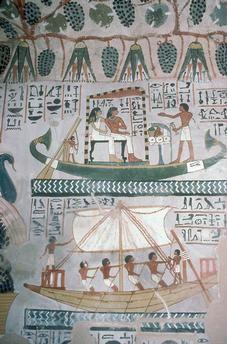 TOMBE / SENNEFER / BATEAU / ABYDOS Peinture égyptienne, Nouvel Empire, XVIIIe dynastie, XIVe siècle av. J.–C.