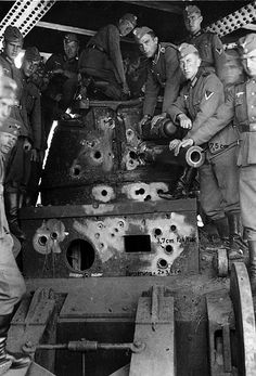 Knocked out French tank, note the marked German 37mm A/T rounds.
