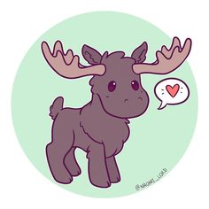 Moose! Not to be confused with Sam Winchester #moose #cute #kawaii #chibi #instaart #instadaily #instaartist #illustration #illustrationoftheday #digitalart #digitalpainting #doodle #art #drawing