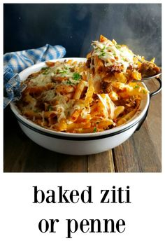 Baked Ziti or Penne Pasta - So Cheesy, so Easy with great hints! Turn out the BEST in no time at all and can we say Budget?! Mostly Pantry, too! #BakedPasta #BakedZiti #BakedPenne #Italian #PantryMeals #Casseroles