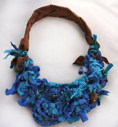 Chunky Blue Upcycled Fiber Necklace.  via Etsy.