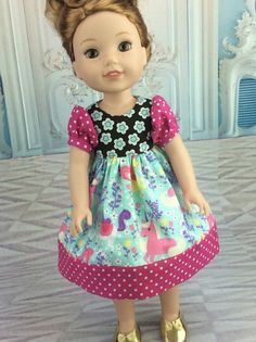 14.5 inch doll clothes. Unicorn Dress to fit Wellie Wishers size dolls. Cute doll clothes. Princess dress.