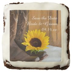 Country Sunflower Wedding Save the Date Brownies Brownie