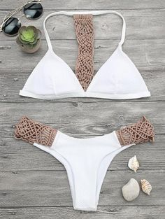Retro style contrast macrame bathing suit featuring t back padded fishnet overlay plunge bikini top and hipster swim bottoms. Swimwear Type: Bikini Gender: For
