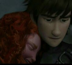 Merida and Hiccup share their sorrow about what I don't know but they are having a bonding moment so eat it up
