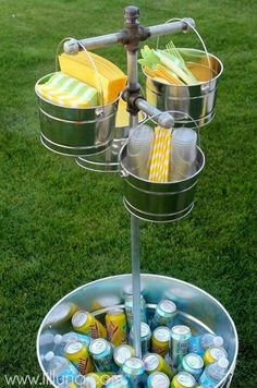 Add a sail? - buckets and aluminum bin from hobby lobby with dollar store napkins and straws backyard bbq party, cookout and baby shower ideas Bbq Party, Snacks Für Party, Yard Party, Beach Party, Patio Party Ideas, Party Drinks, Picnic Ideas, Party Fun, Bbq Food Ideas Party