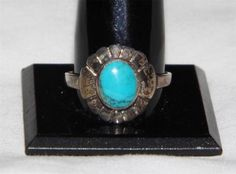 Vintage Sterling Silver round turquoise ring size:8 ha 24  Current bid:    US $8.00