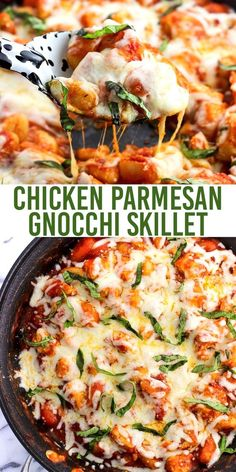Parmesan Gnocchi Skillet is a total comfort food meal made all in one skillet. Less dishes to clean with saucy gnocchi, juicy chicken, and Parmesan and mozzarella cheeses. Top with fresh basil for serving and this gnocchi dinner will be a favorite! One Skillet Meals, One Pot Meals, Skillet Chicken, One Skillet Recipe, Chicken And Gnocci, Gnocchi Recipe With Chicken, Easy Gnocchi Recipe, Roasted Chicken, Cooking Recipes