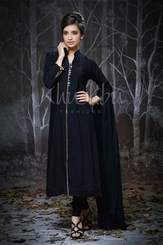Picture of Plain Black Kameez with Beige Trim, Dupatta and Churidar