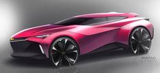 Mazda suv concept car design sketch render illustration. Concept design vehicle inspiration for designers, automotive sketch