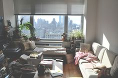 Cozy messy living room - the view upgrades it all!