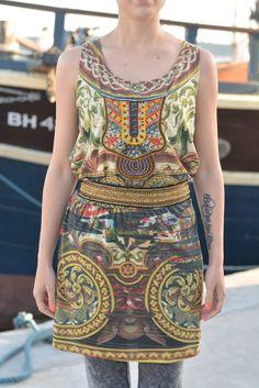CALKAKA Desigual dress size L lagenlook bohemian boho vintage size L