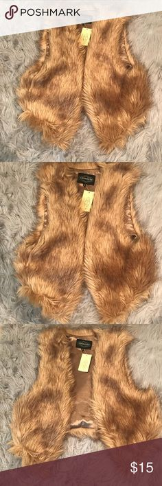 Brown faux fur vest New with tags brown faux fur vest, great for fall/winter or even transitioning into spring Jackets & Coats Vests