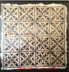 Tapa cloth is called Siapo in the Samoan language.  It is made from the inner bark of the Mulberry tree.  There are thirteen symbols used that have meaning. To learn more research the web.  Fa'a Samoa or in English means In the Samoan Way.