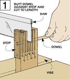 """Dowel Cutting Jig Here's a jig that will make """"short work"""" of accurately cutting dowels into small pieces with a hand saw."""