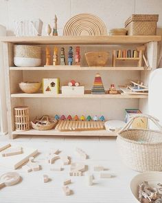 a toddler room sneak peek with framebridge x penguin books - calivintage - Wooden toys forever. Thank you Andrea Masó Amat for including our Wooden Animal…, - Montessori Toddler Rooms, Montessori Bedroom, Montessori Toys, Playroom Decor, Kids Decor, Home Decor, Baby Playroom, Playroom Furniture, Wooden Animals