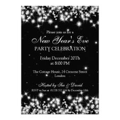 elegant new years eve winter sparkle black invitation
