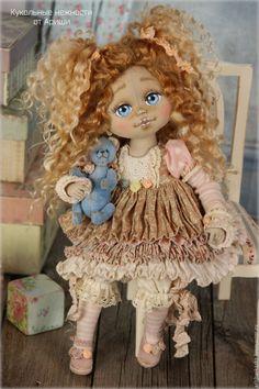 Купить Веснушка . Кукла авторская текстильная - кремовый, розовый, розы, белый, шебби, шебби-шик