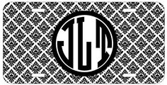 Personalized Monogrammed Damask Black License Plate Auto Tag Top Craft Case http://www.amazon.com/dp/B00N025KNM/ref=cm_sw_r_pi_dp_2zotub1WZREQ7