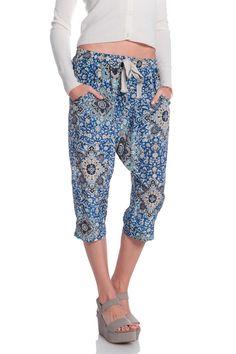 Sea Drop Printed Pants in Blue