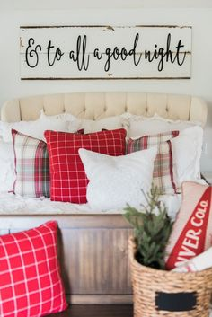 Guest Bedroom Cozy cheerful farmhouse Christmas bedroom - A must pin for farmhouse & cottage style Christmas decor inspiration! Christmas Post, Christmas Signs, All Things Christmas, Christmas Holidays, Cozy Christmas, Christmas Scenery, Cottage Christmas, Burlap Christmas, Christmas Movies