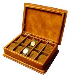 porta orologi cassettati in cuoio, con cuscinetti, struttura in legno massello   -  www.bambule.it   #portaorologi #cuoio #artigianale #madeinitaly