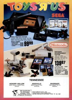 Toys'R'Us Nintendo Entertainment System and Sega Master System Ad - December 1987 Game watch. I had castlevania 2 as a kid. Video Vintage, Vintage Video Games, Classic Video Games, Retro Video Games, Vintage Games, Retro Games, Vintage Toys, Retro Toys, Vintage Stuff