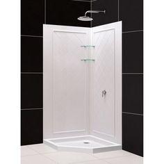 DreamLine Slimline 38 In. Neo-Angle Shower Base & Shower Backwall Kit, 38 In. H, White Color Items included: shower backwalls and neo-angle shower base; overall kit Dimensions: 38 in. drain is not. Shower Base, Shower Floor, Home Depot, Corner Shower Kits, Corner Showers, Dreamline Shower, Living Pool, Neo Angle Shower, Shower Panels