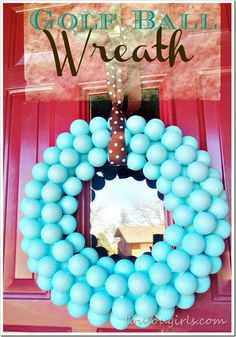 Golf Ball Wreath you can also spray paint it red for Christmas. Very inexpensive and easy.
