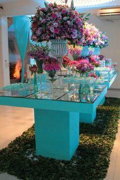 Decoração Festa Debutante Azul Tiffany e Rosa